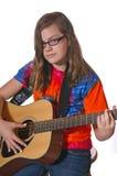 leka för flickagitarr som är teen Royaltyfri Foto