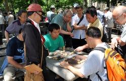 leka för folk för kontrollörchinatown nyc royaltyfri foto