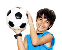 leka för fotboll för pojke gulligt Arkivbild