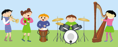 leka för instrument för barn lyckligt stock illustrationer