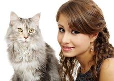 leka för kattflicka Arkivfoton