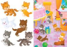 leka för kattungar Arkivbilder