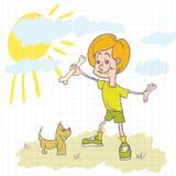 leka för pojkehund Arkivbild