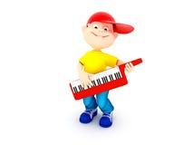 leka för pojkepiano Arkivfoton