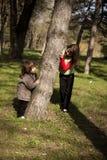 leka för pojkeskogflicka arkivfoton