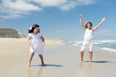leka för strand arkivfoto