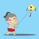 leka för strandpojkedrake stock illustrationer