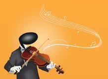 Leka fiol för violinistman med musikaliska anmärkningar Royaltyfri Foto