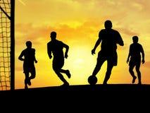 leka fotbollsolnedgång royaltyfri illustrationer