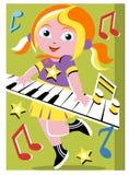 leka för flickatangentbord Royaltyfri Bild