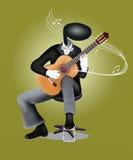 Leka gitarr för gitarrman med musikaliska anmärkningar och S stock illustrationer