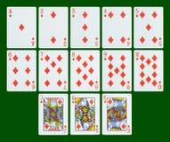 Leka kort - diamanter Arkivbild