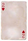 Leka kort för gammal grunge som är pappers- med hjärta två Arkivfoton