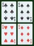 Leka kort - sex Arkivbild