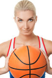 leka kvinna för basket Arkivfoto