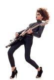 leka kvinna för elektrisk gitarr Royaltyfria Bilder