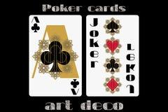 leka poker för kort Ace klubbor joker Pokerkort i art décostilen Kort för standart format vektor Royaltyfri Fotografi