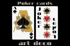 leka poker för kort göra ett ess på spaden joker Pokerkort i art décostilen Kort för standart format Royaltyfri Fotografi