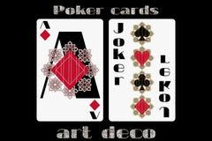 leka poker för kort Topp- diamant joker Pokerkort i art décostilen Arkivfoto