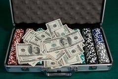 leka pokerset för pengar Royaltyfri Bild