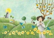 Leka rør för pojke royaltyfri illustrationer