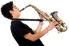 leka saxofon för grabb Royaltyfria Foton