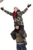 leka snow för par Fotografering för Bildbyråer