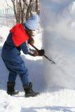 leka snowkvinna Arkivbild