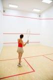 leka squashkvinna royaltyfri foto