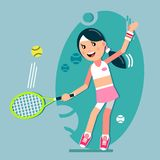 leka tennis för flicka royaltyfri illustrationer