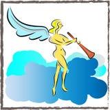 leka trumpet för ängel Arkivfoton