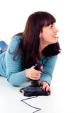 Leka videospel för flicka Fotografering för Bildbyråer