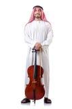 Leka violoncell för arabisk man Arkivbilder