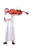 Leka violoncell för arabisk man Royaltyfri Bild