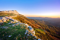 Lekanda peak in Gorbea at sunrise Stock Image