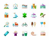 Lekar för barn` s och underhållning, symboler, färg, vektor royaltyfri illustrationer