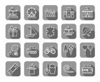 Lekar för barn` s och underhållning, symboler, grå färger, lägenhet, linje, vektor royaltyfri illustrationer