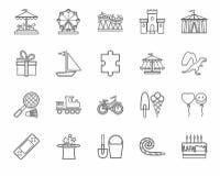Lekar för barn` s och underhållning, symboler, grå färger som är linjära, vektor stock illustrationer