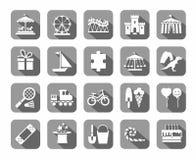 Lekar för barn` s och underhållning, symboler, grå färger, vektor royaltyfri illustrationer