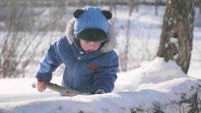 Lekar för ett småbarn i vintern parkerar, skrattar och ler Solig frostig dag Skoj i den nya luften stock video