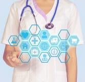 Lekarek prasy na palec wskazujący ikony komputerowym interfejsie Zdjęcia Stock