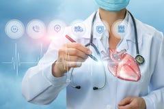 Lekarka diagnozuje zdrowie serce Fotografia Stock