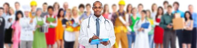 Lekarka i grupa pracowników ludzie Obraz Stock
