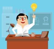 Lekarka jest czytelniczym książką przy biurkiem w biurowej wektorowej ilustraci Obraz Royalty Free