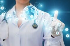 Lekarka klika dalej ikonę lekarka w sieci Obraz Royalty Free