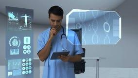 Lekarka patrzeje cyfrowo wytwarzać medyczne ikony na pastylce ilustracja wektor