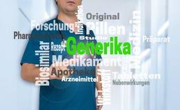Lekarka pokazuje na widzu z Generika w niemieckim alternatywnym medi Fotografia Stock