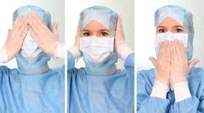 Lekarka słucha widzieć mówić nic Zdjęcie Royalty Free