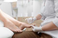 Lekarka w rękawiczkach robi procedurze dla stopy z specjalnym wyposażeniem Obraz Stock
