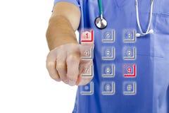 Lekarka wybiera numer liczbę 911 Obrazy Stock